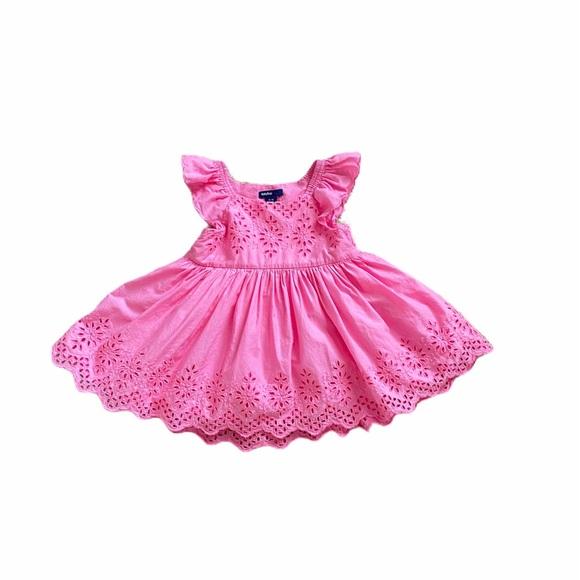 Pink eyelet baby gap dress 12-18 months